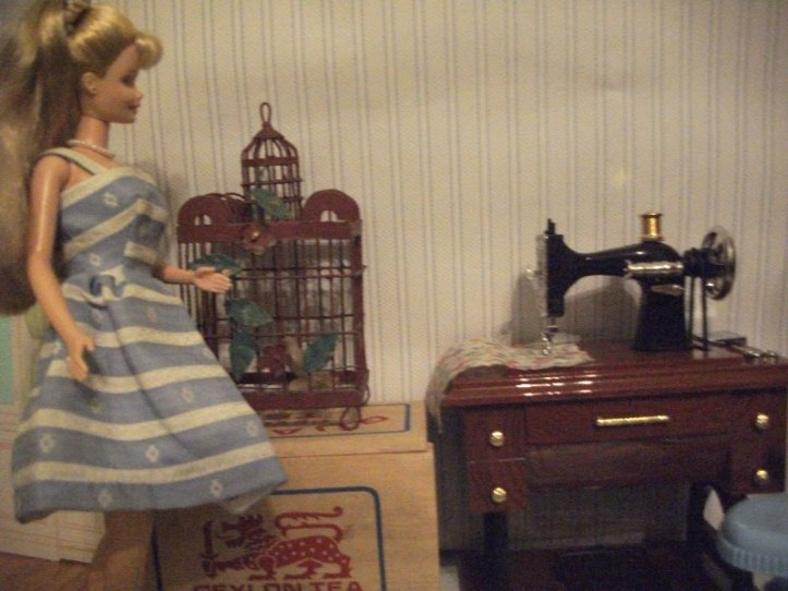 Victoria's sewing room-props courtesy of my sister.