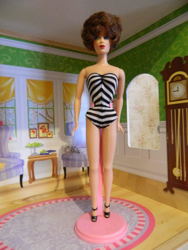 Retro Charice by Mikelman in a Barbie inspired swimsuit.