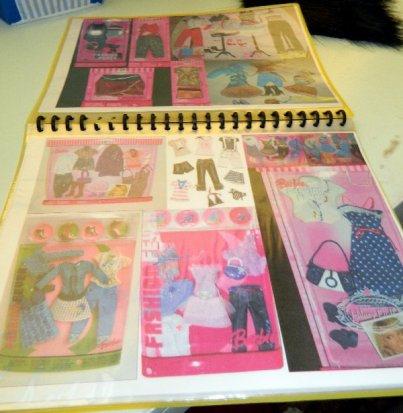 A couple of pages from my home made Barbie Fashion guide book.