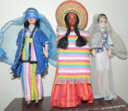 Faun dolls in clourful costumes.