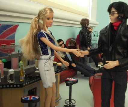 Kylie wears the spotted top with the white shorts. Male dolls courtesy of my sister's collection
