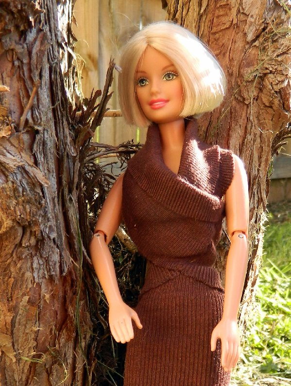 brown wrap top and skirt