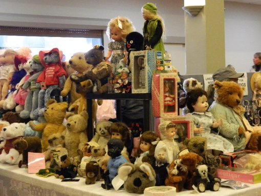 Dolls and bears for sale.
