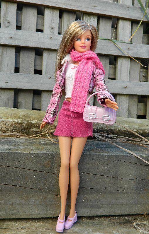 Lauren wears the check jacket and pink scarf with the skirt and top.
