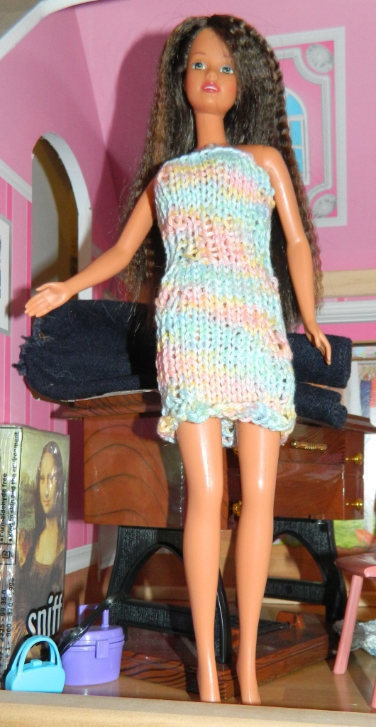 Mary in the dress I knitted  from a cotton yarn.
