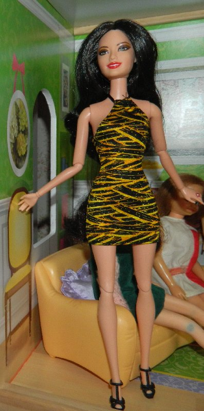 Marissa wears a tiger striped dress bought from an eBay seller in China.
