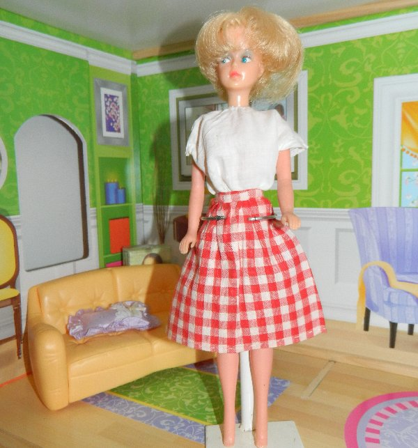 English Palitoy Tressy wears a home made gingham skirt and cotton top.