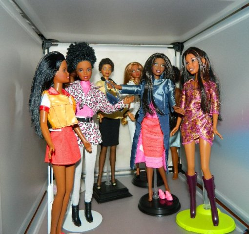 The African American Barbies now live in two separate cubes.