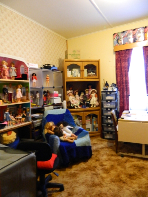 TV unit housing dolls and hobby supplies