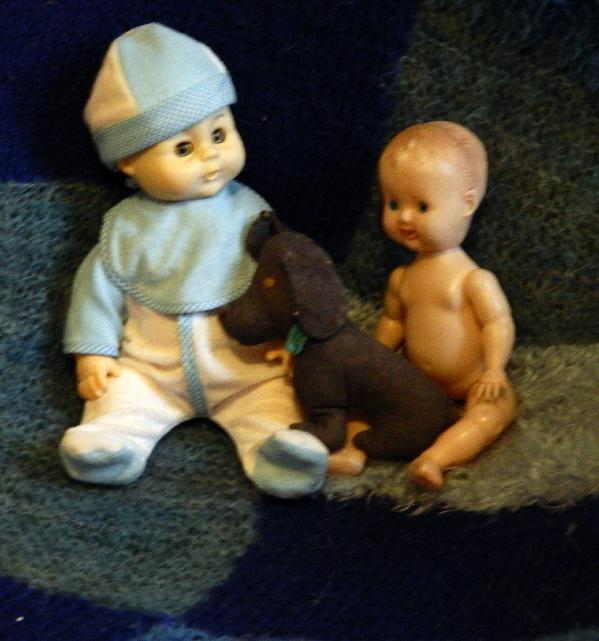 Mark and Marcus, the little denim dog was made by my mum years ago.