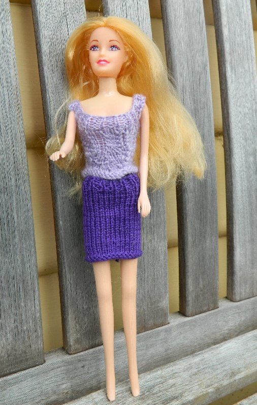 knitted skirt and lacy top. Skirt is Milford Soft knitting & crochet cotton 3ply. Knitted on 2mm needles.