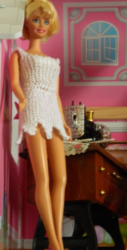 Barbie dress knitted in Panda Lyscot Mercerised Cotton.