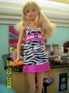 Rebecca in the Zebra Striped dress.