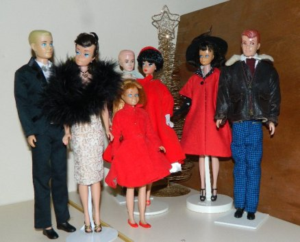 Ken,Swirl Barbie, Dr Kildare, Repro Barbie, Midge, Allan and Skipper