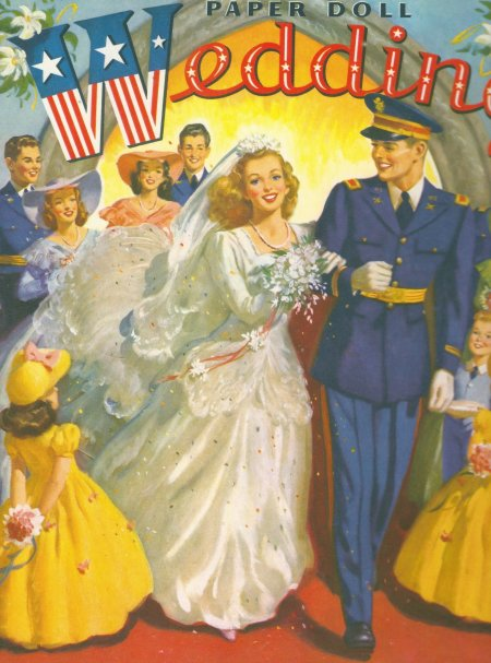 Reproduction of Paper Doll Wedding No. 4851 by Merrill Publishing 1944. Published by Paper Studio Press