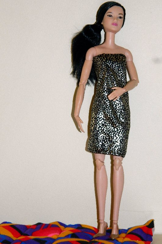 Lea in a dress I made and a pair of heels.