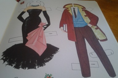 Barbie and Ken reproduction paper doll outfits.
