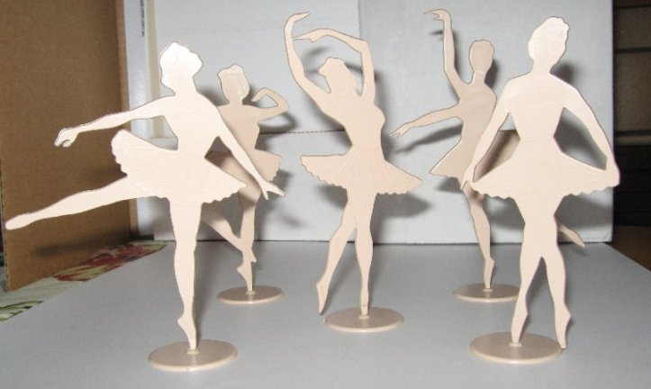 Ballet dolls made from plastic.
