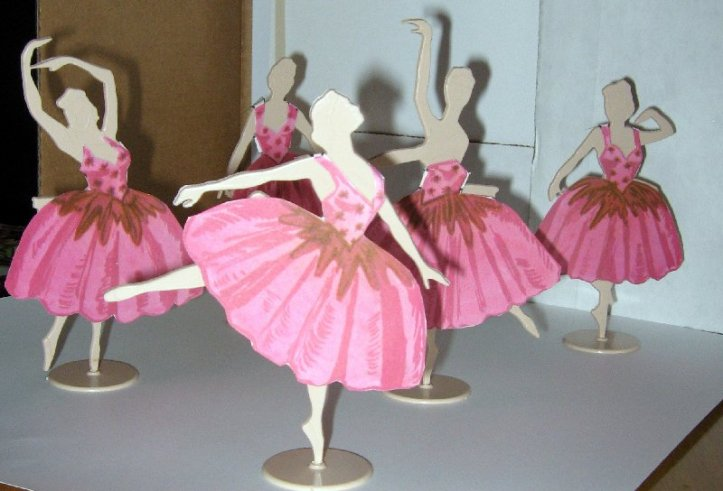 Creative Cut Outs Ballerina's in pink dance dresses.