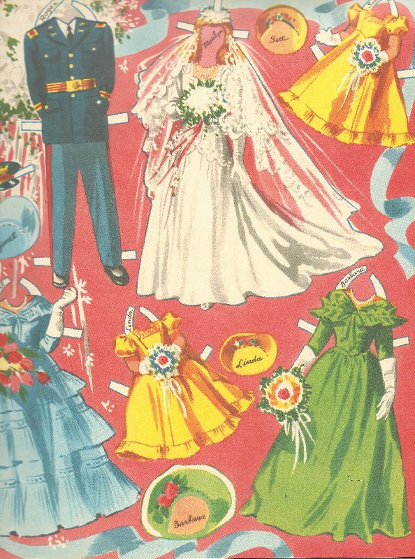 Clothing from the Merrill wedding paper dolls.