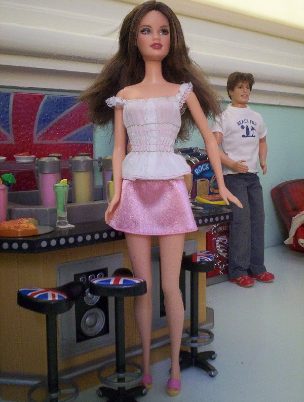 """Fashion Fever -Pink """"satin"""" skirt and whilte cotton top."""