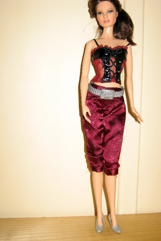 Fashion Fever - Cropped pants and corset style top with silver flat shoes.