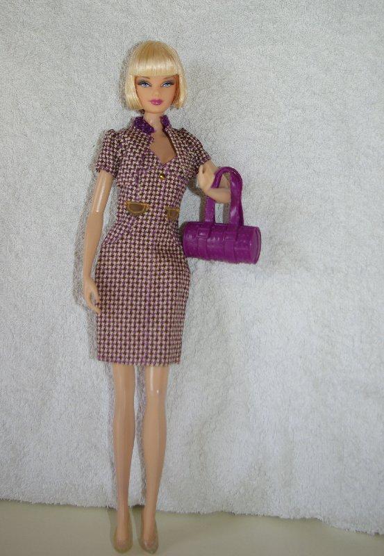 Hillary Duff purple check dress and jacket