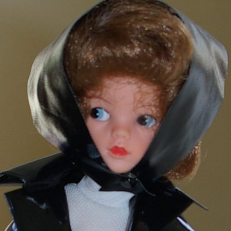 close up of Sindy doll in Shopping In The Rain Headscarf