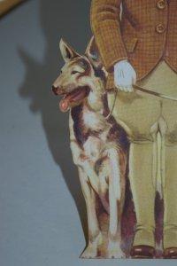 Princess Elizabeth paper doll with German Shepherd dog.