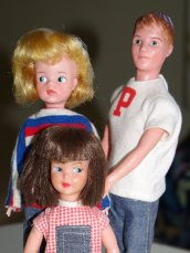 Sindy, Paul and Patch in the clothes they would have been issued in.