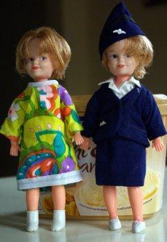 Two dolls marked Hongkong.