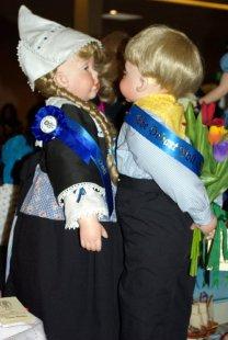 Two toddler sized Dutch dolls.