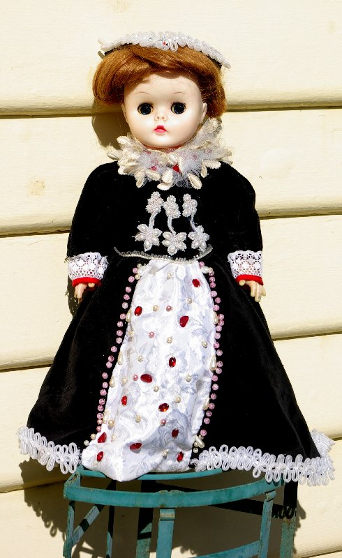 unmarked doll circa 1960s, pedigree type, approx 35-40 cms tall, redressed.