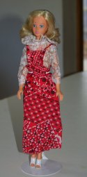 Tuesday wears a pinafore dress which is a Barbie fashion from1975 with a generic lace blouse from the same era.