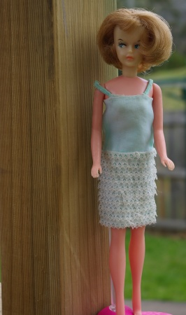 "Honey blonde Palitoy Tressy in ""Evening Date"" dress minus blue rosette, stole and shoes."