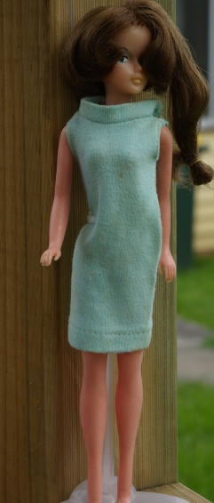 Tressy in turquoise shift dress.