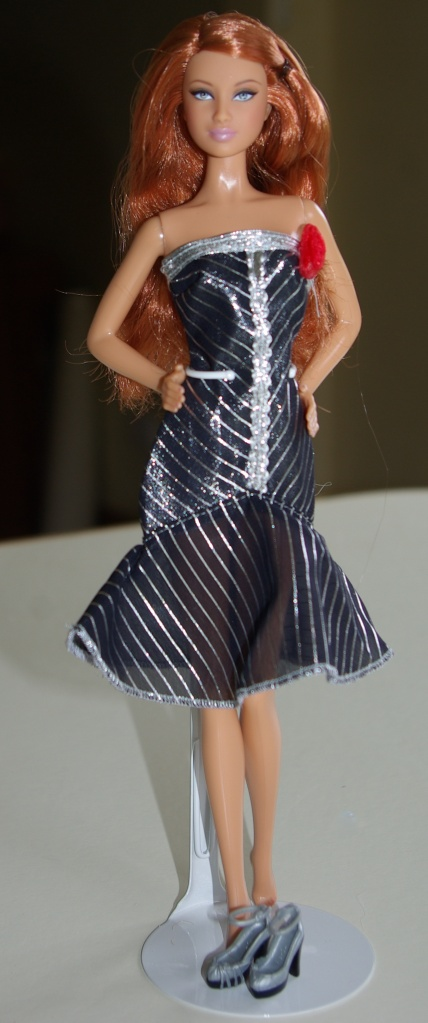 Amy in the black and silver evening dress.