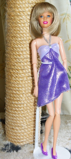 Bonnie can now wear the mauve halterneck dress.