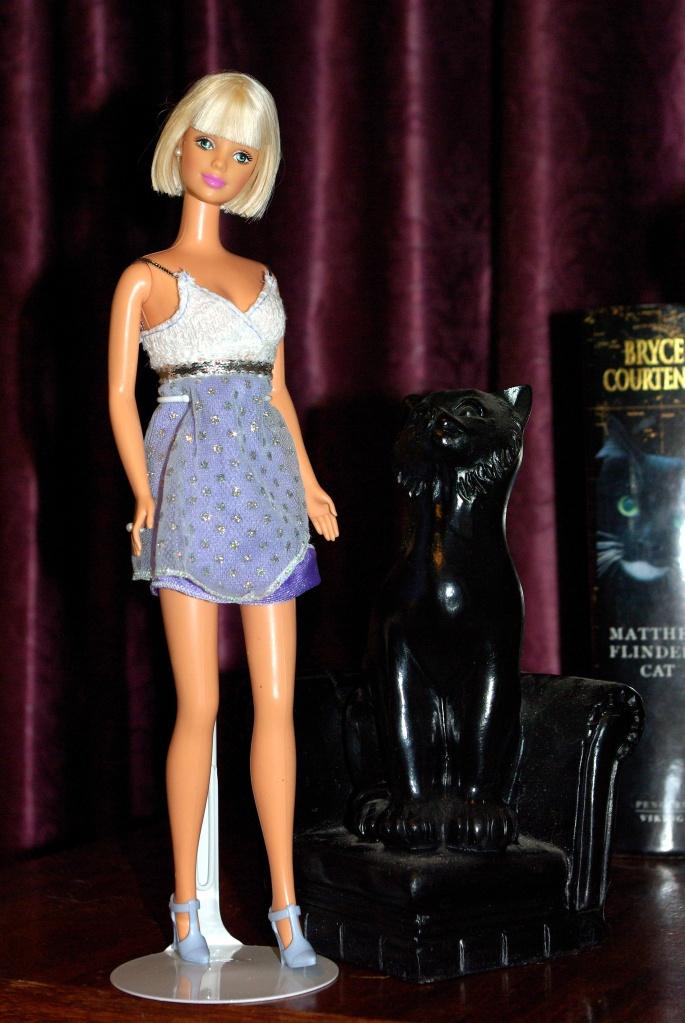Vivienne models the mauve dress.