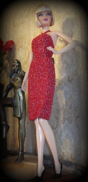 Becky in a OOAK red crochet dress - from eBay.