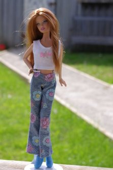 Erin in the flowered jeans and white top.