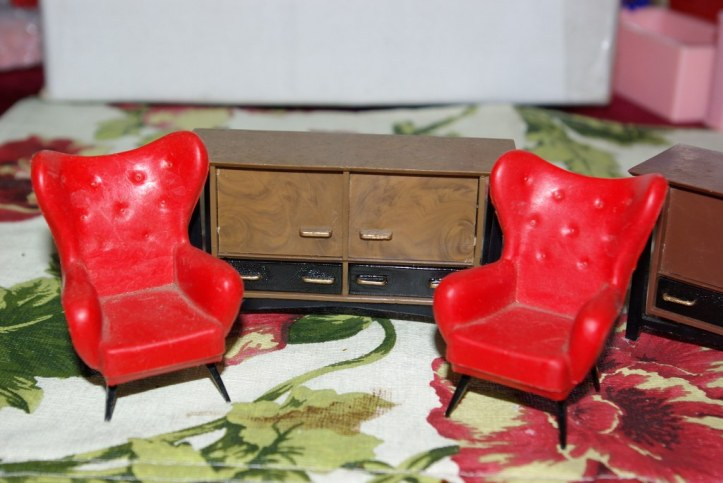 Triang Spot-On Wing Chairs and Sideboard circa 1960s