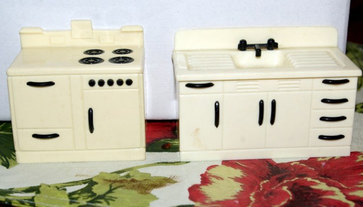 Kitchen furniture from the 1950s marked Ideal on back.