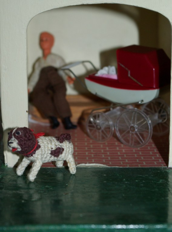 man with pram, dog
