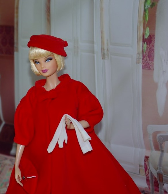 Repro Red Flare coat , hat and gloves.