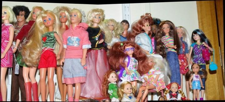 Eighties, nineties and noughties Barbie family and friends.