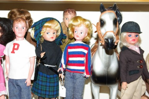 Naomi's Mini Paul my Sindy in Lunch Date, Naomi's Sindy in Weekenders and a horse.
