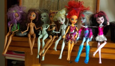 Here are the girls after I had reattached their limbs.
