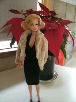 Black Basics dress & vintage Barbie fur jacket.