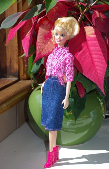 Sally in the Cool and Casual skirt and blouse set.